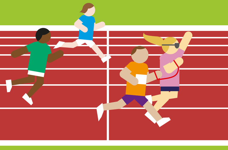 Animation of athletics track from Inclusion Club Hub