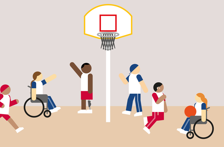 An animation of an inclusive basketball club session
