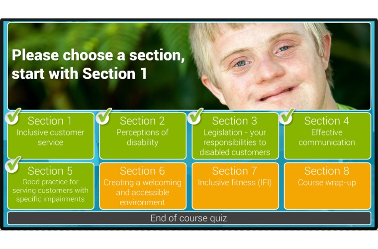 Screenshot from e-course