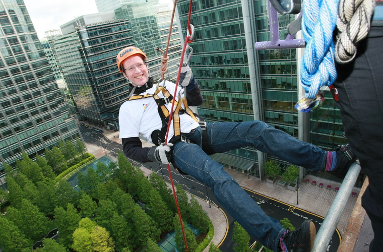 Barry Horne abseiling