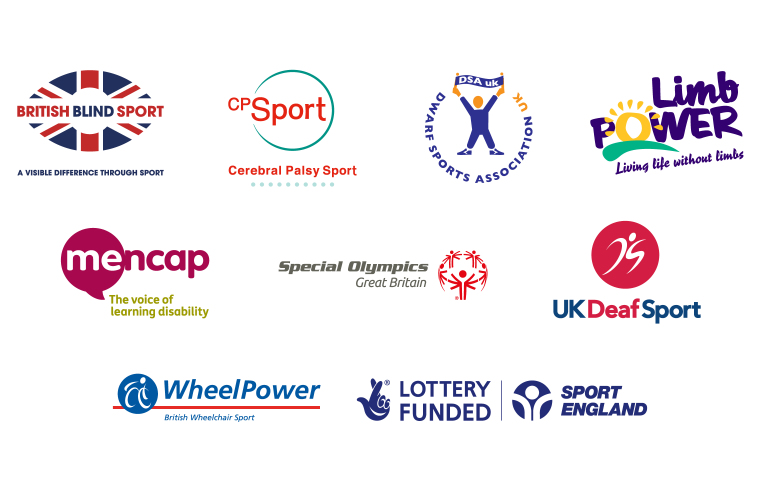 Logos of National Disability Sports Organisations and Sport England.