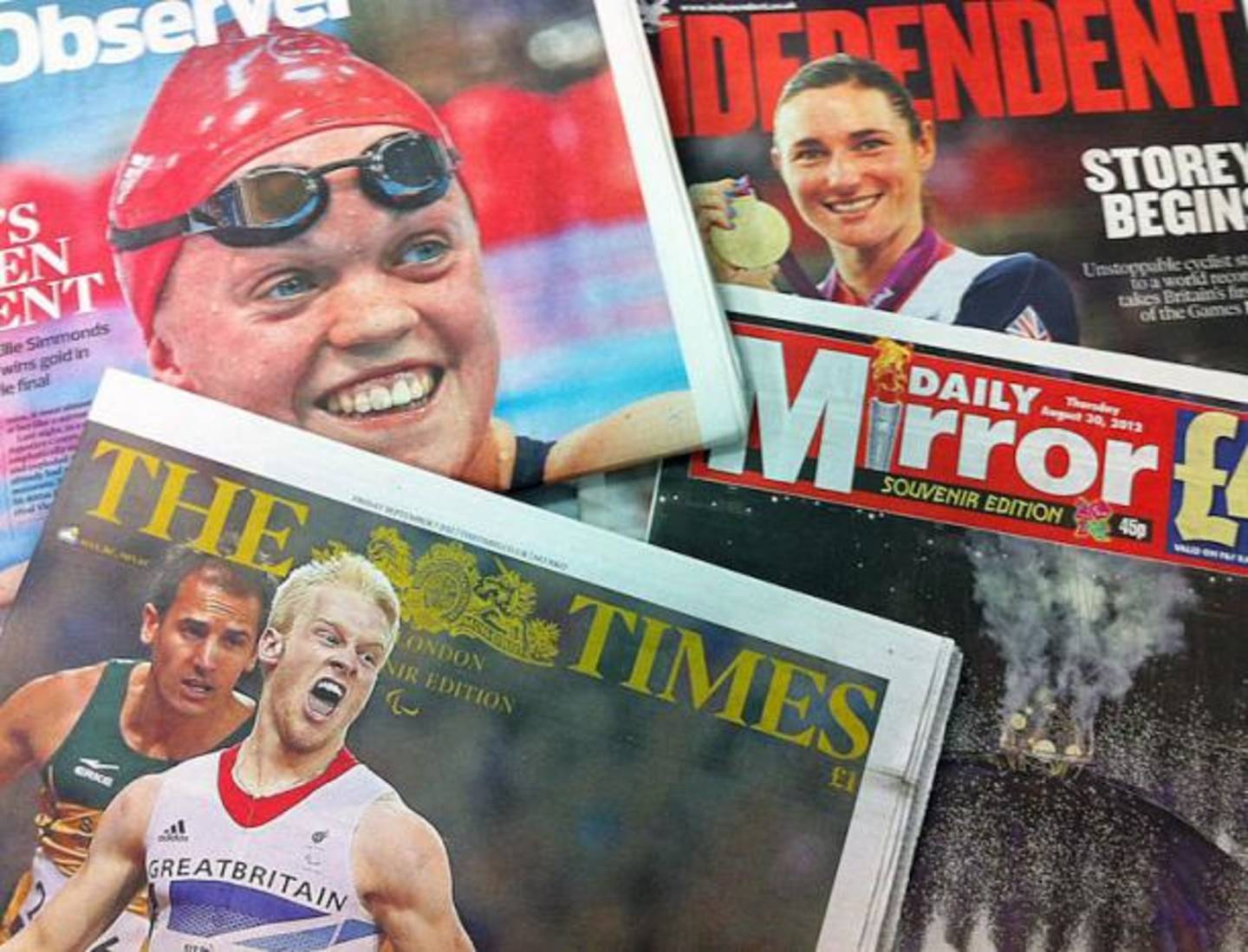 2012 Paralympics coverage on newspaper front pages