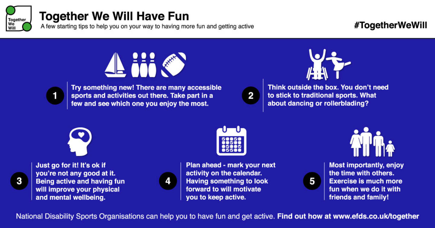 Image shows infographic showing five tips to help you have more fun being active.