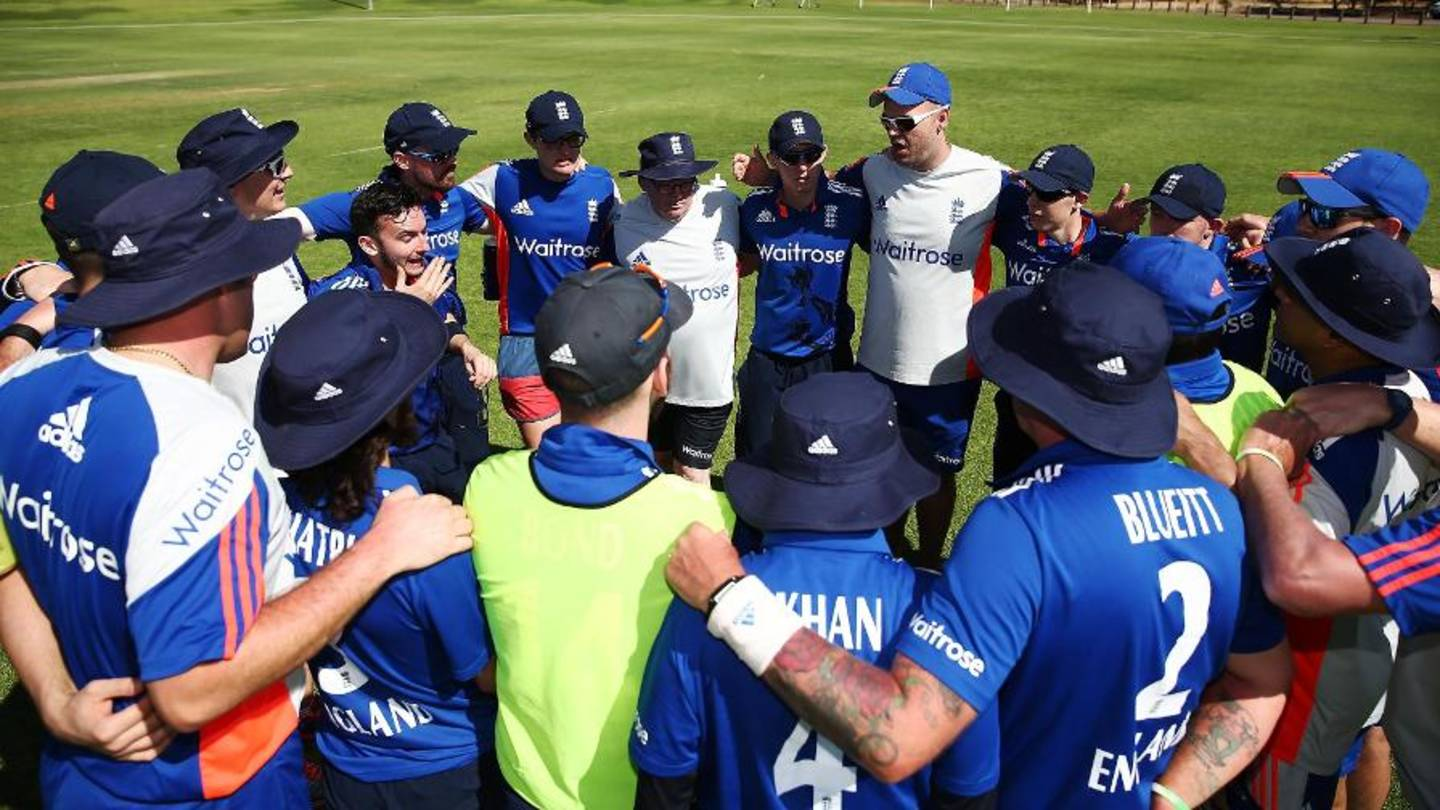 Image shows England visually impaired cricket team in huddle
