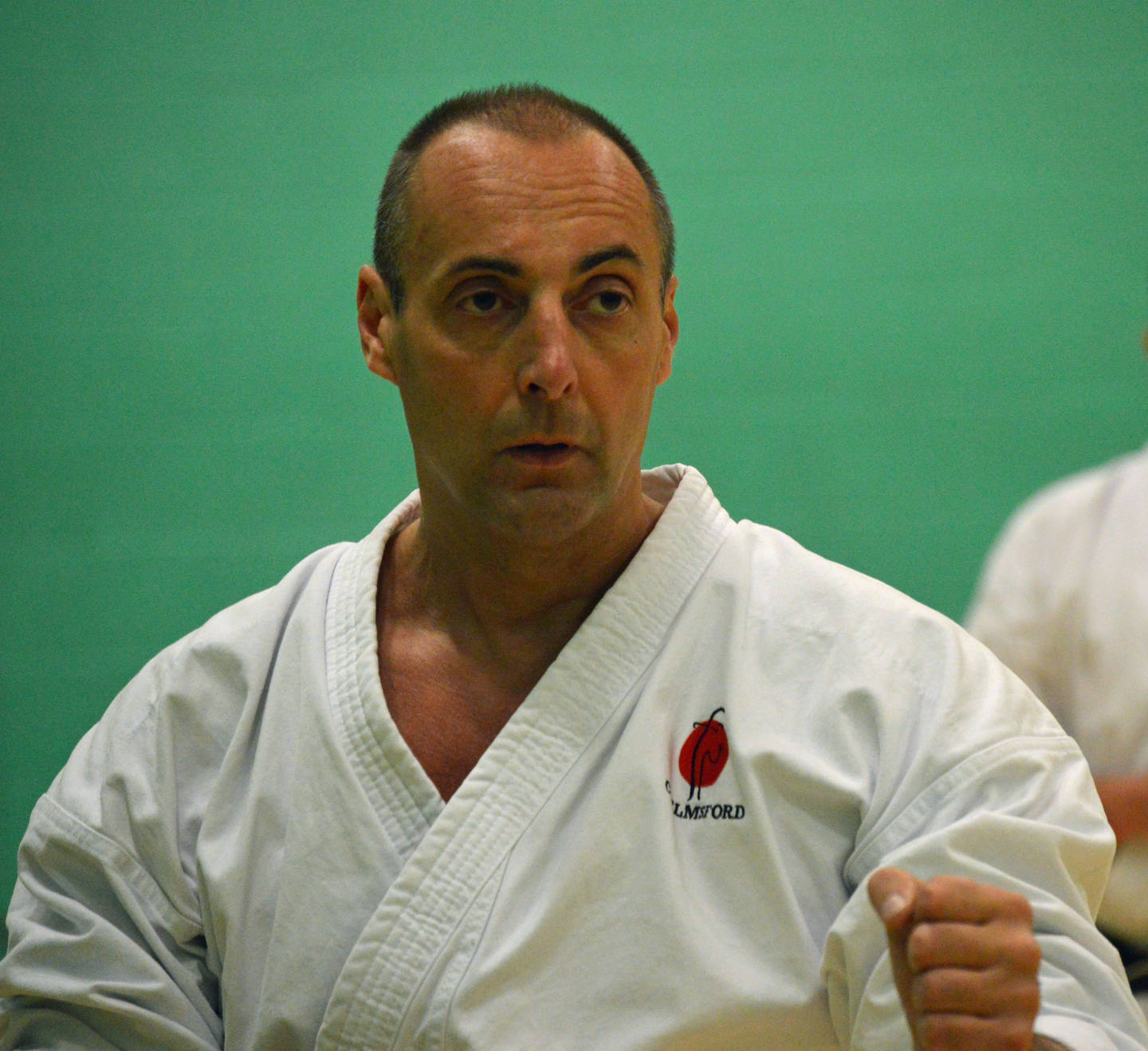 Richard Naylor-Jones practising karate
