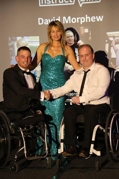 David receiving the Spirit of Instructability Award, with Joe Townsend, Para Triathlete, and Hilary Farmiloe, Head of Aspire Instructability.