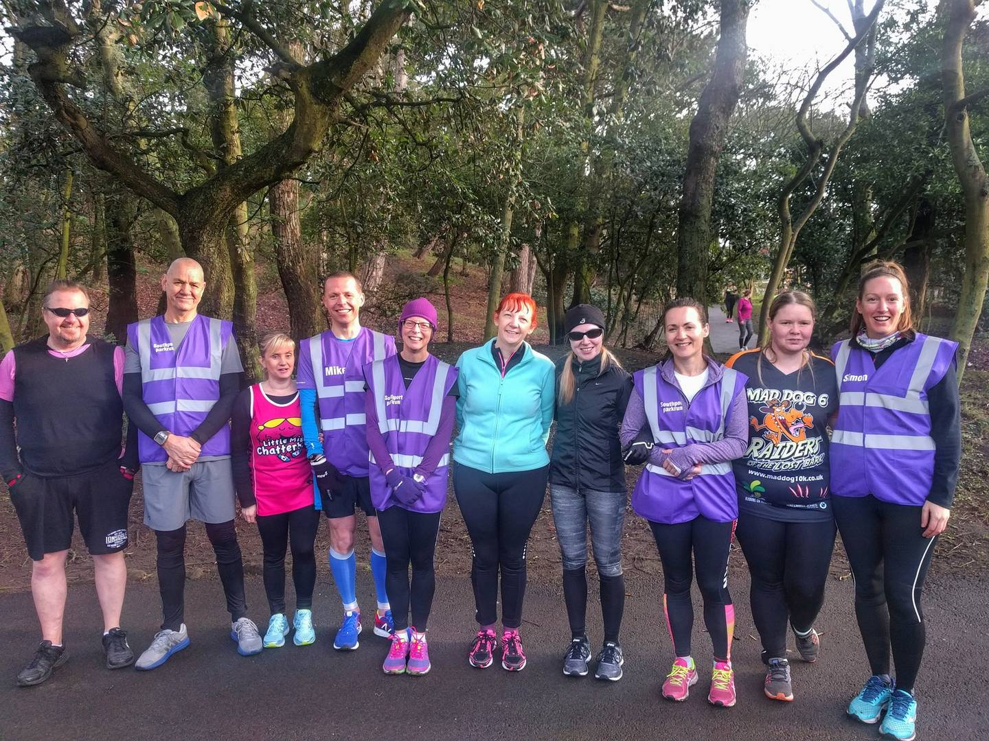 Members of the Southport parkrun group. Left to right: James and Terry (guide), Kelly and Mike (guide), Jen (guide) and Karen, Rachel (guide) and Catherine, Donna and Sarah (guide).
