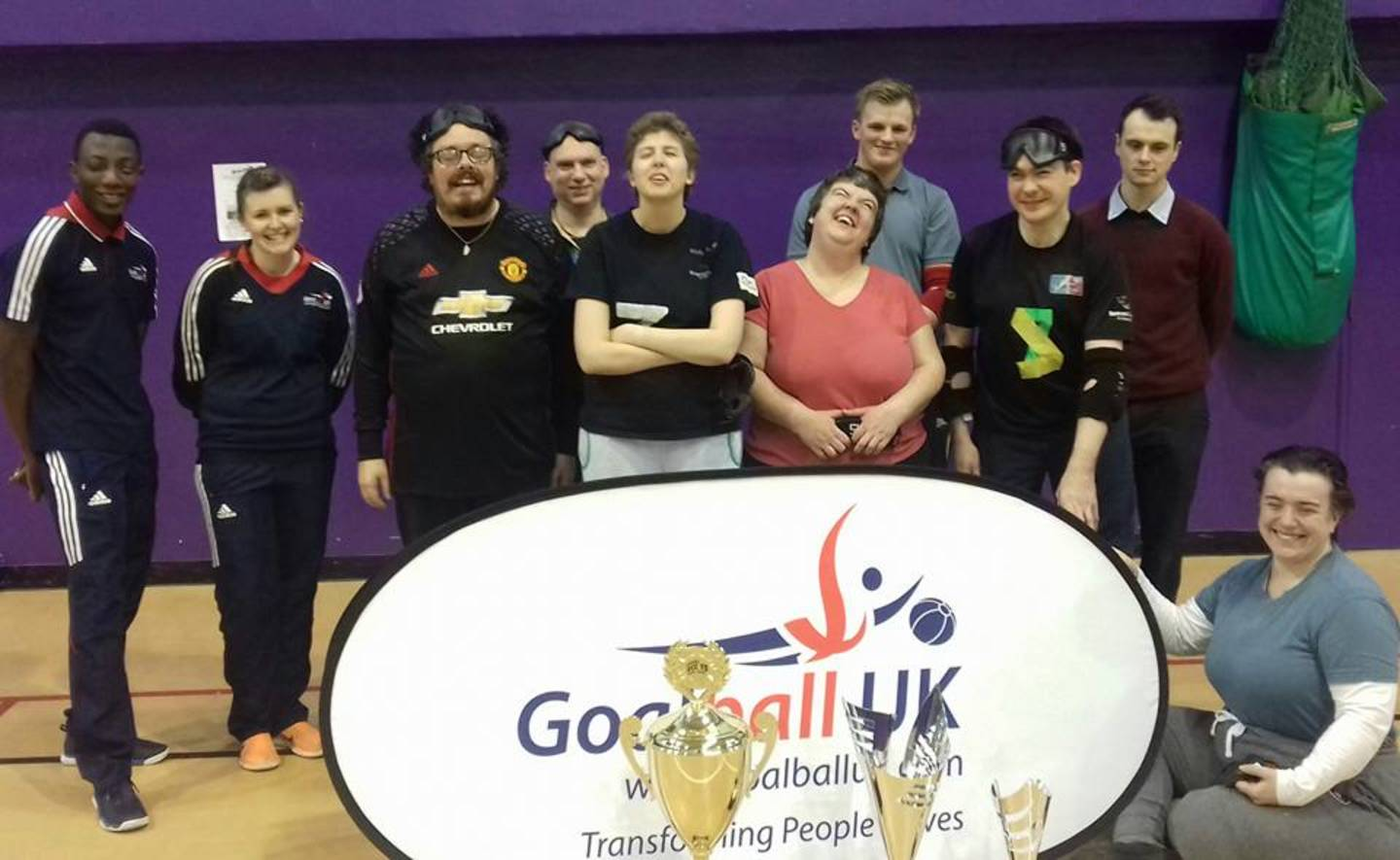 The Beacon Bullets goalball team during the GB Roadshow, where GB Women's Assistant Coach Becky Ashworth and GB Men's player Caleb Nanevie came to visit with the Euro Championships Trophies.