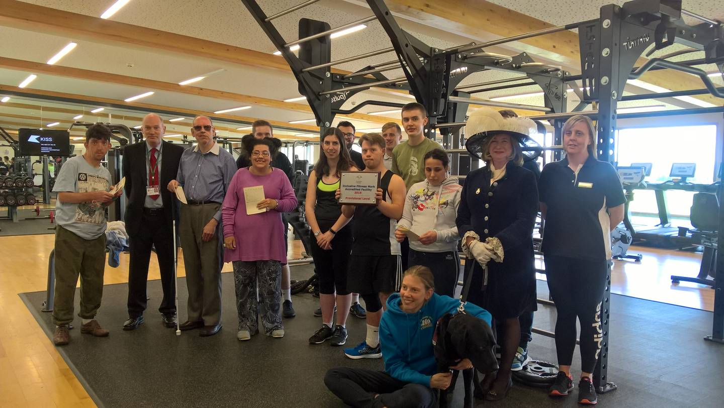 Uppingham School Sports Centre staff and students at the Inclusive Fitness Initiative Award presentation