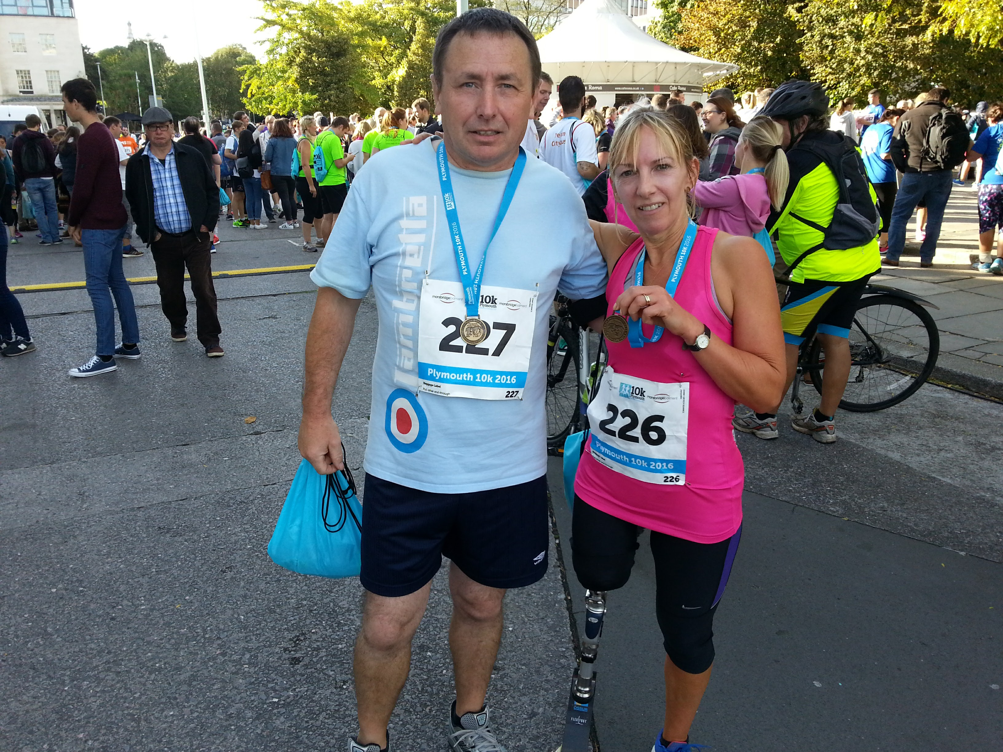 Debbie and her husband at the 2016 Plymouth 10k