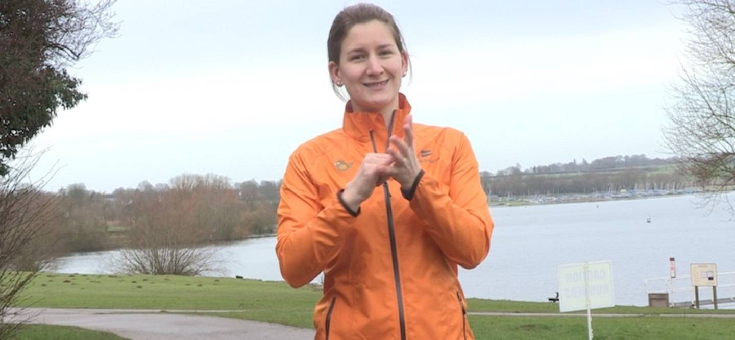Philippa signing on parkrun BSL video