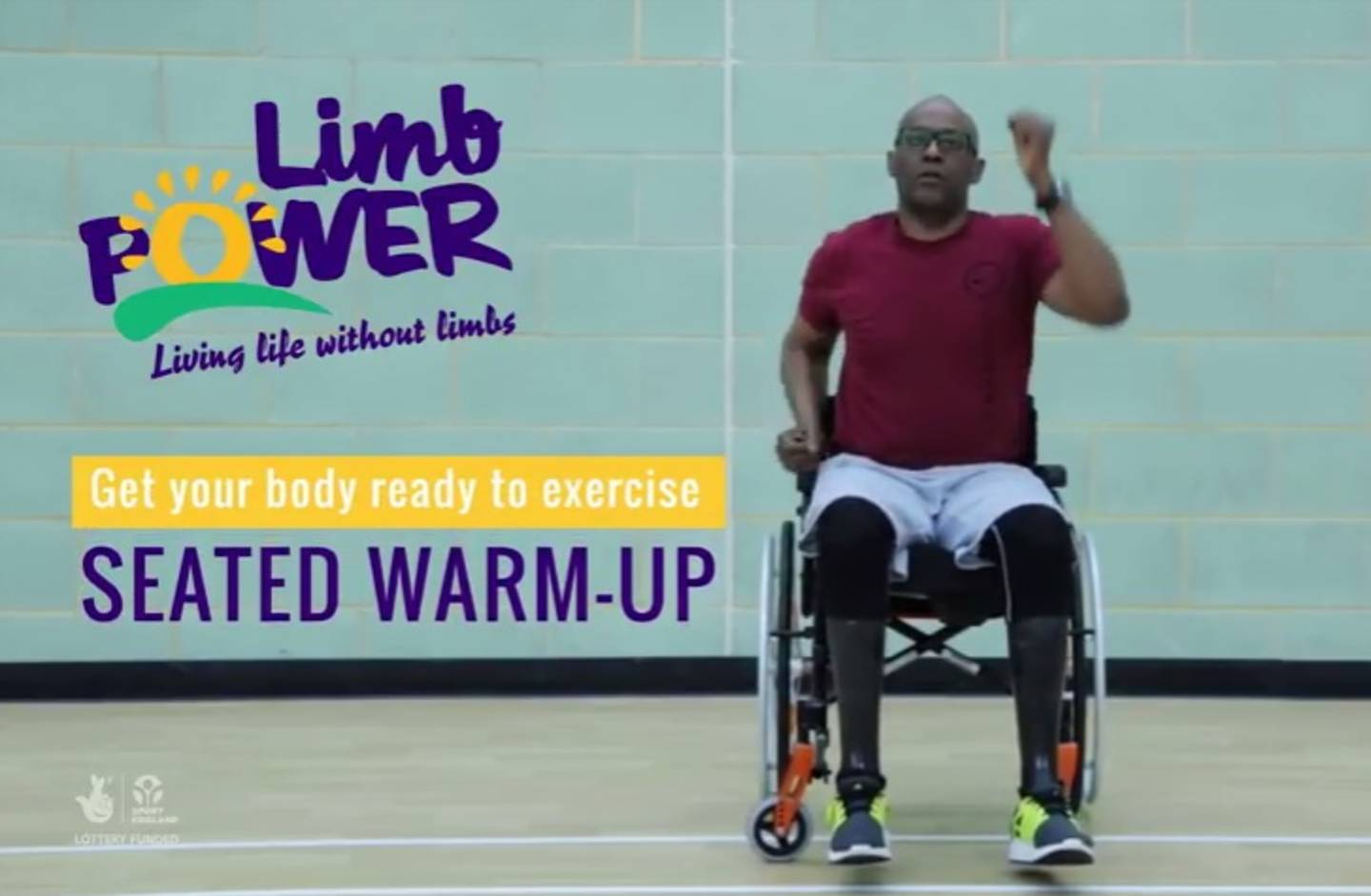 Screenshot of seated exercise warm up video