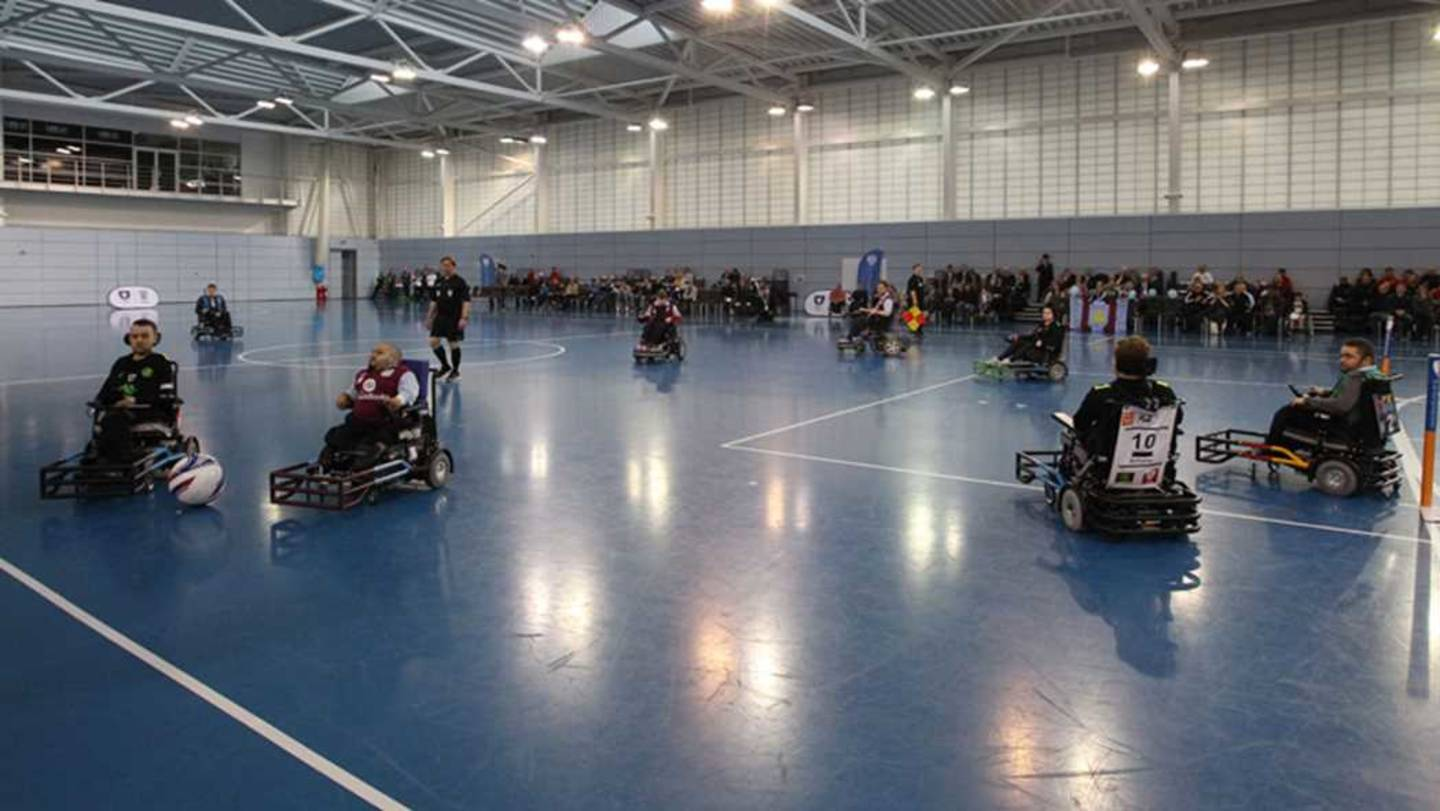 Powerchair football action at St. George's Park