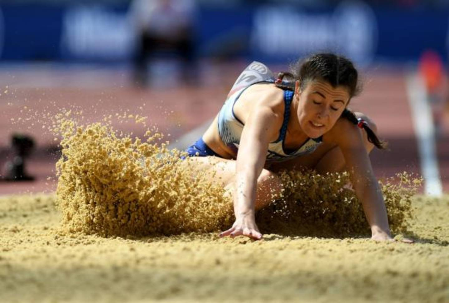 Olivia Breen doing the long jump at the World Para Athletics Championships 2017