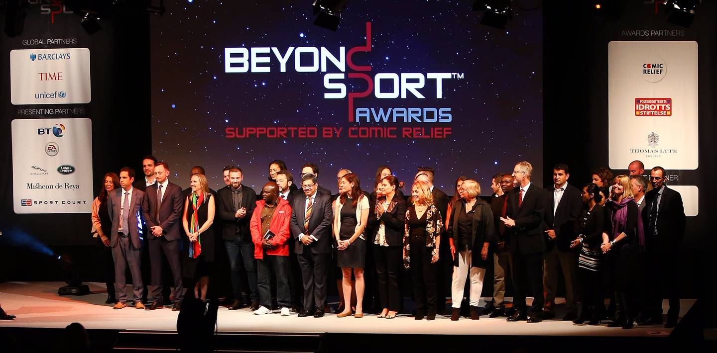 Winners on the Beyond Sport Awards stage