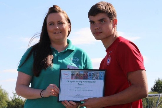 Ben Meadows being handed his CP Sport Young Ambassador Award