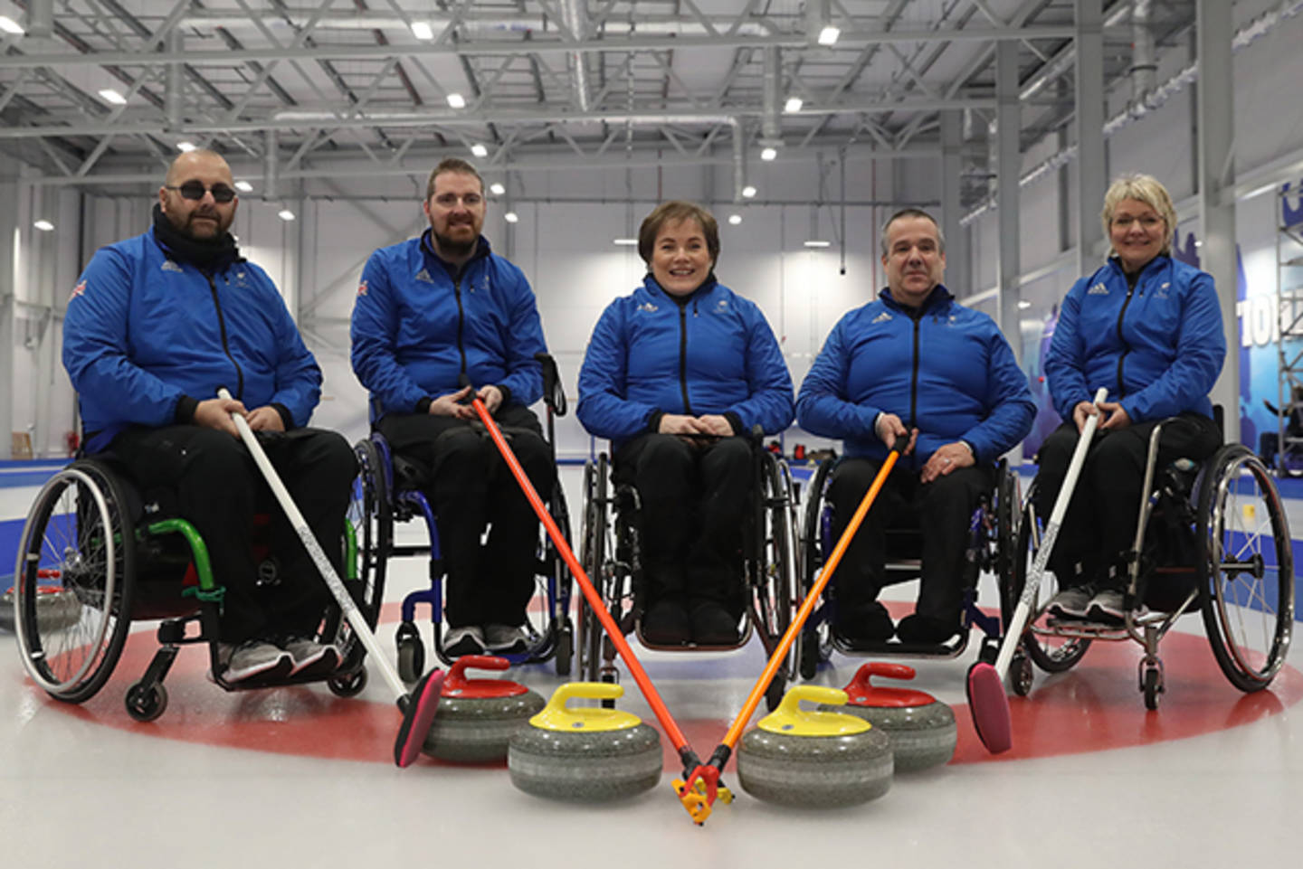 ParalympicsGB wheelchair curling team photo