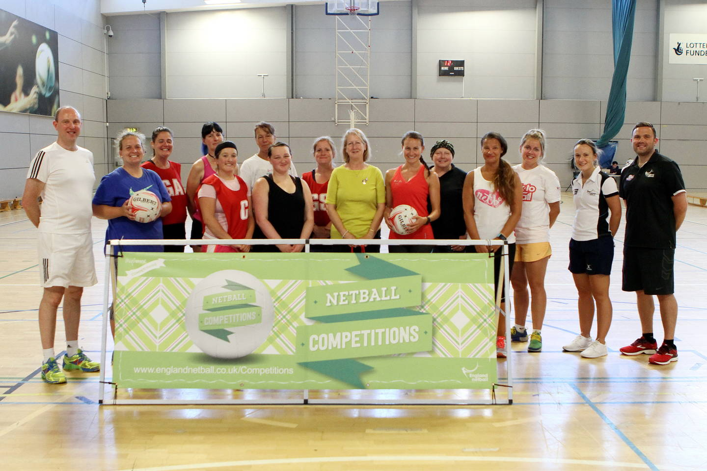 Group photo of players at netball training day