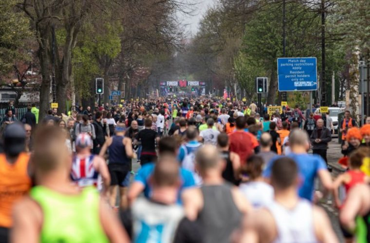 Runners on course during Asics Manchester Marathon