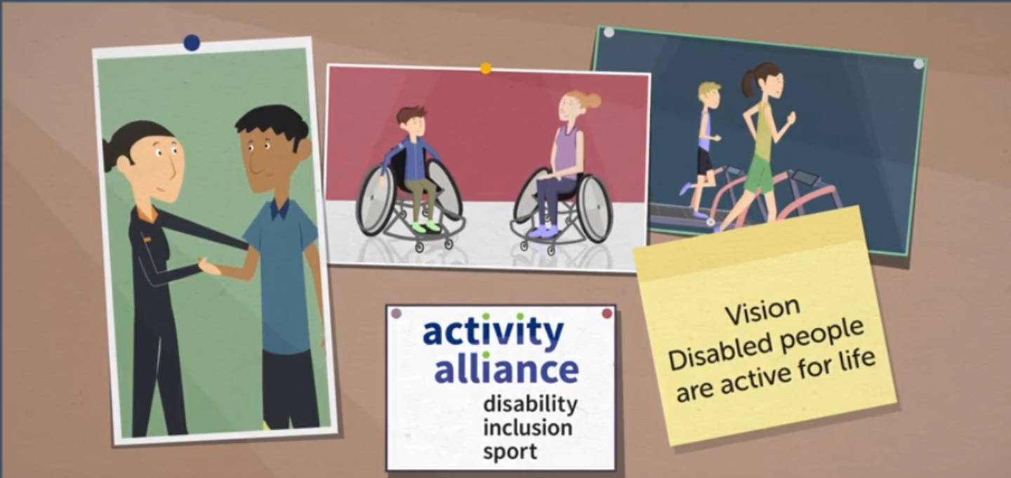 Inclusive comms animation image: disabled people are active for life.