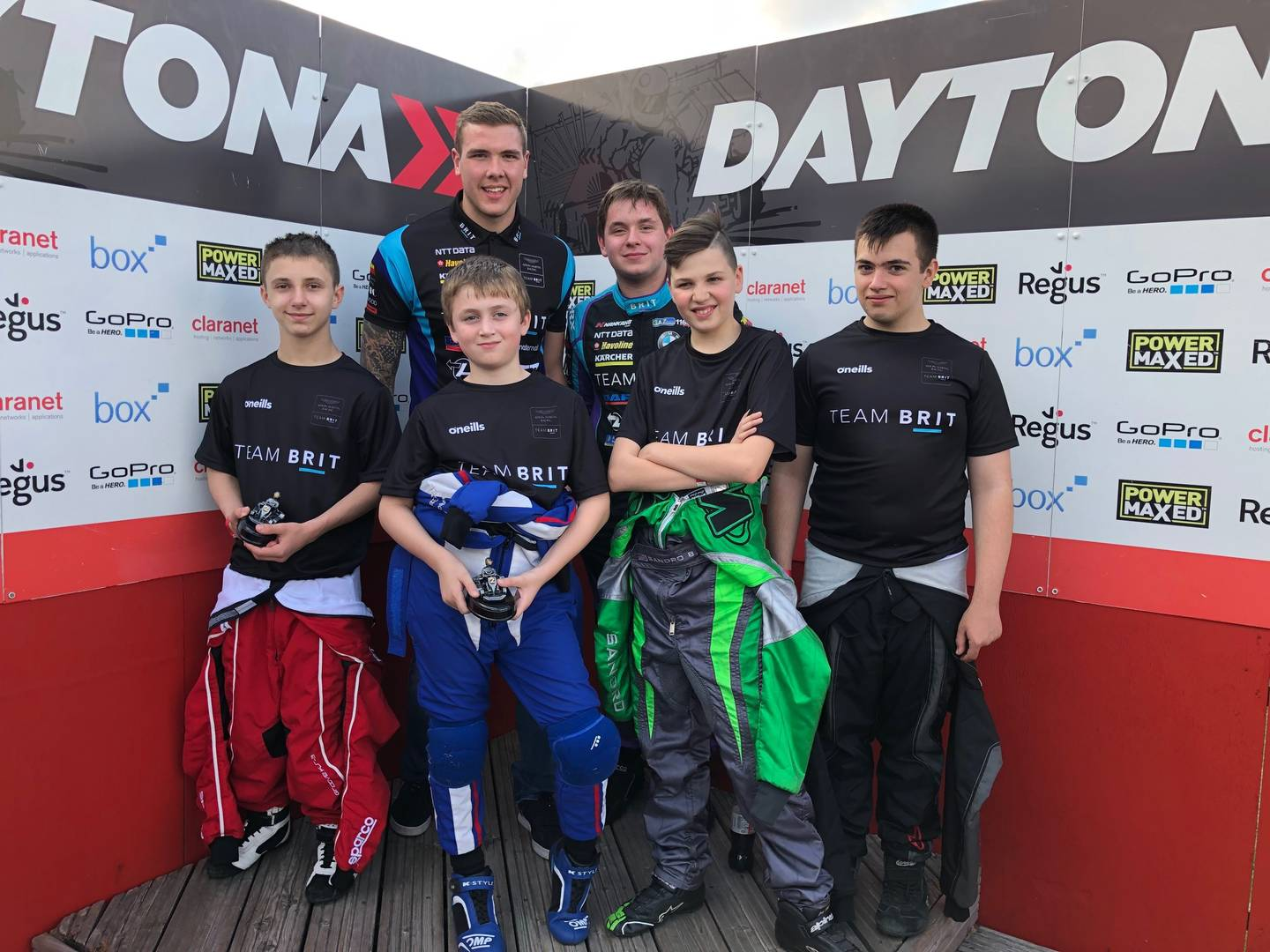 Racing with Autism team standing together after karting event