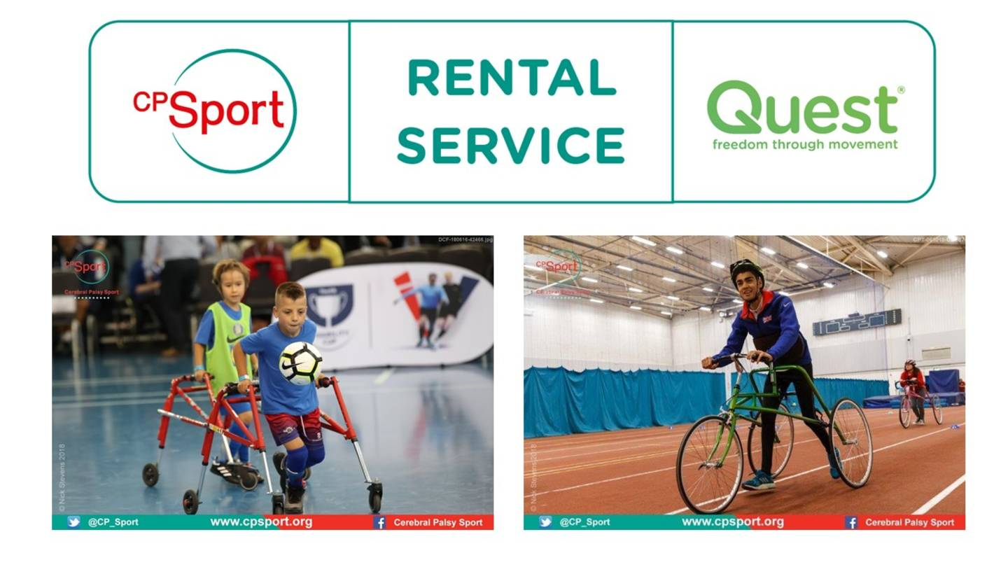 CP Sport and QUEST equipment rental service graphic showing CP Sport's logo, QUEST logo and images of a young boy playing frame football and another young boy taking part in RaceRunning.