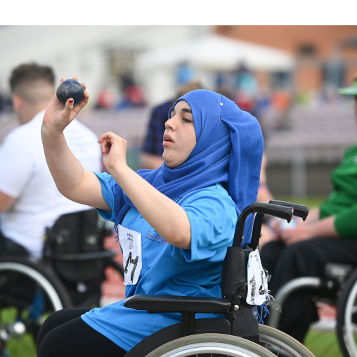 Junior athlete taking part in shotput at National Junior Athletics Championships 2019